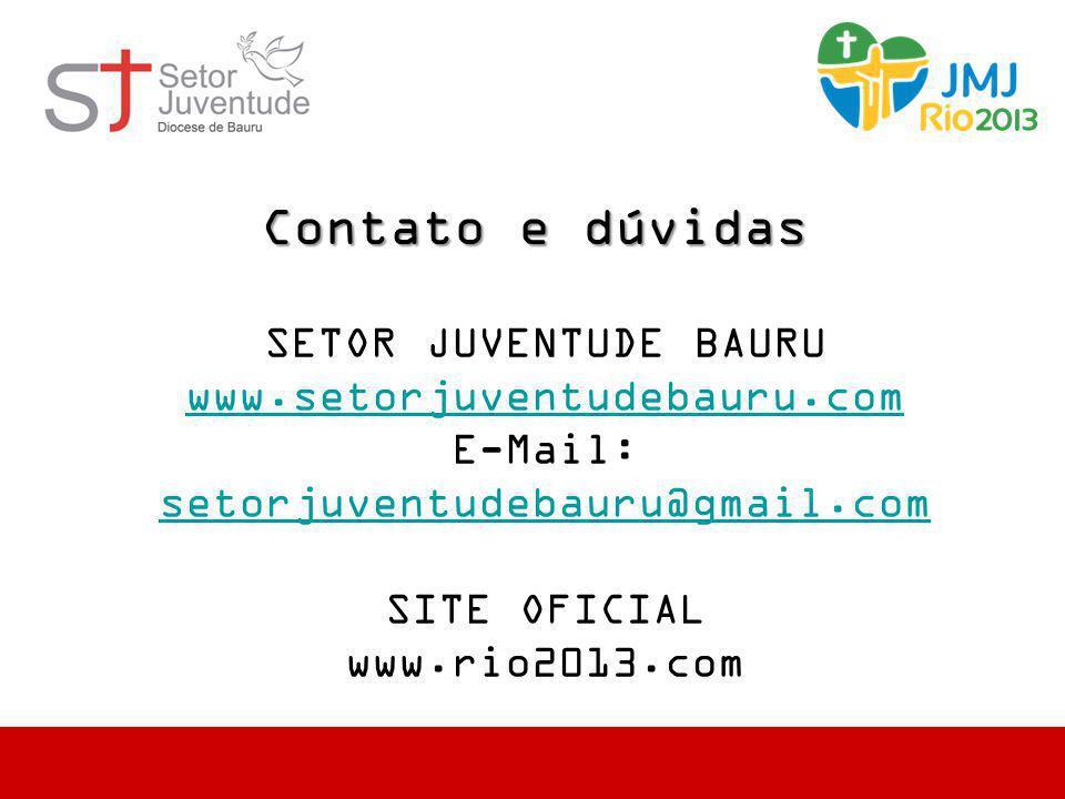Contato e dúvidas SETOR JUVENTUDE BAURU www.setorjuventudebauru.com E-Mail: setorjuventudebauru@gmail.com setorjuventudebauru@gmail.com SITE OFICIAL w