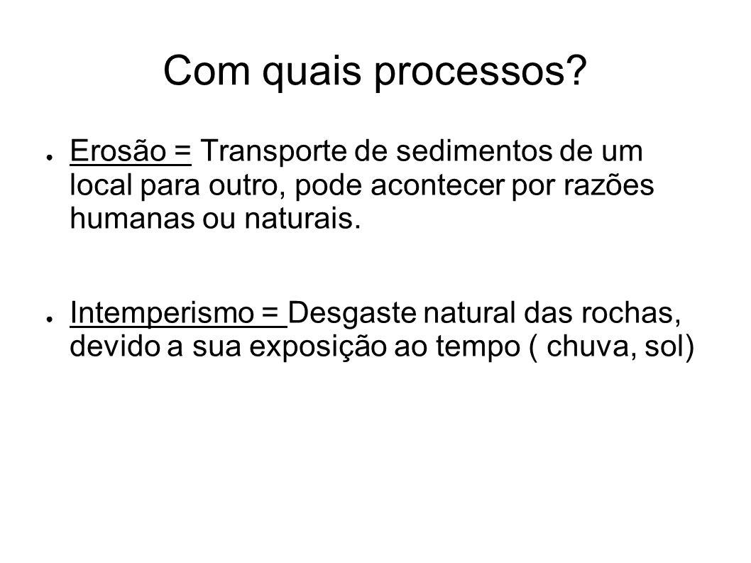 Com quais processos? ● Erosão = Transporte de sedimentos de um local para outro, pode acontecer por razões humanas ou naturais. ● Intemperismo = Desga