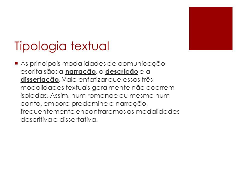 Tipologia textual  As principais modalidades de comunicação escrita são: a narração, a descrição e a dissertação.