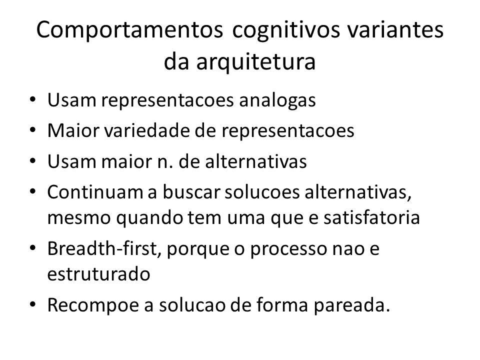 Comportamentos cognitivos variantes da arquitetura • Usam representacoes analogas • Maior variedade de representacoes • Usam maior n.