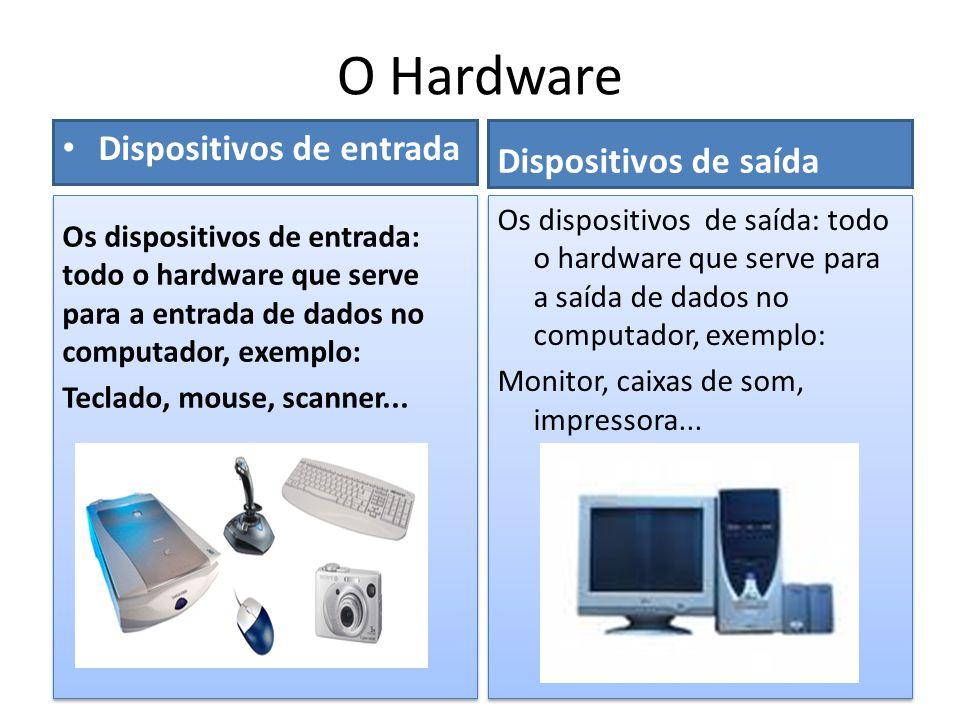 O Hardware • Dispositivos de entrada Dispositivos de saída Os dispositivos de saída: todo o hardware que serve para a saída de dados no computador, ex