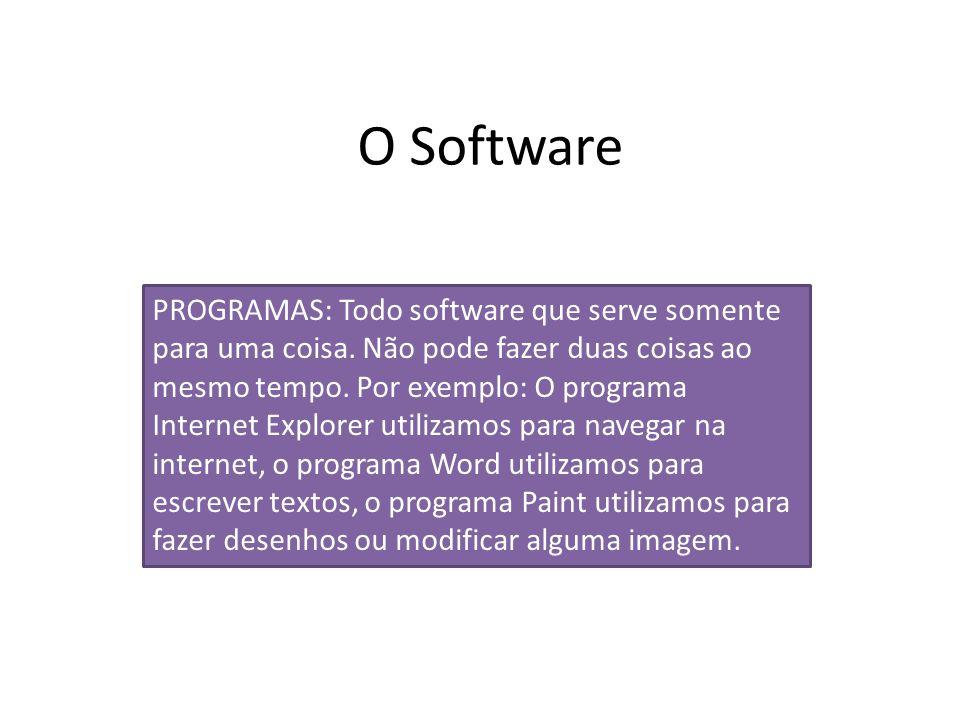 O Software PROGRAMAS: Todo software que serve somente para uma coisa. Não pode fazer duas coisas ao mesmo tempo. Por exemplo: O programa Internet Expl