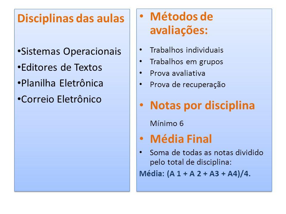 • Métodos de avaliações: • Trabalhos individuais • Trabalhos em grupos • Prova avaliativa • Prova de recuperação • Notas por disciplina Mínimo 6 • Méd