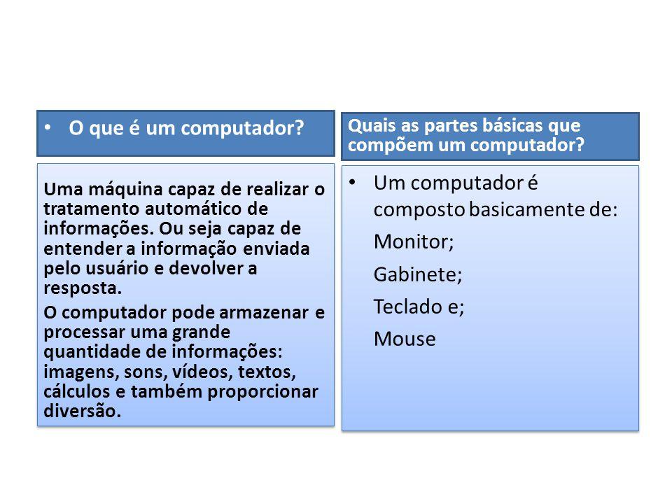 • O que é um computador? Quais as partes básicas que compõem um computador? • Um computador é composto basicamente de: Monitor; Gabinete; Teclado e; M