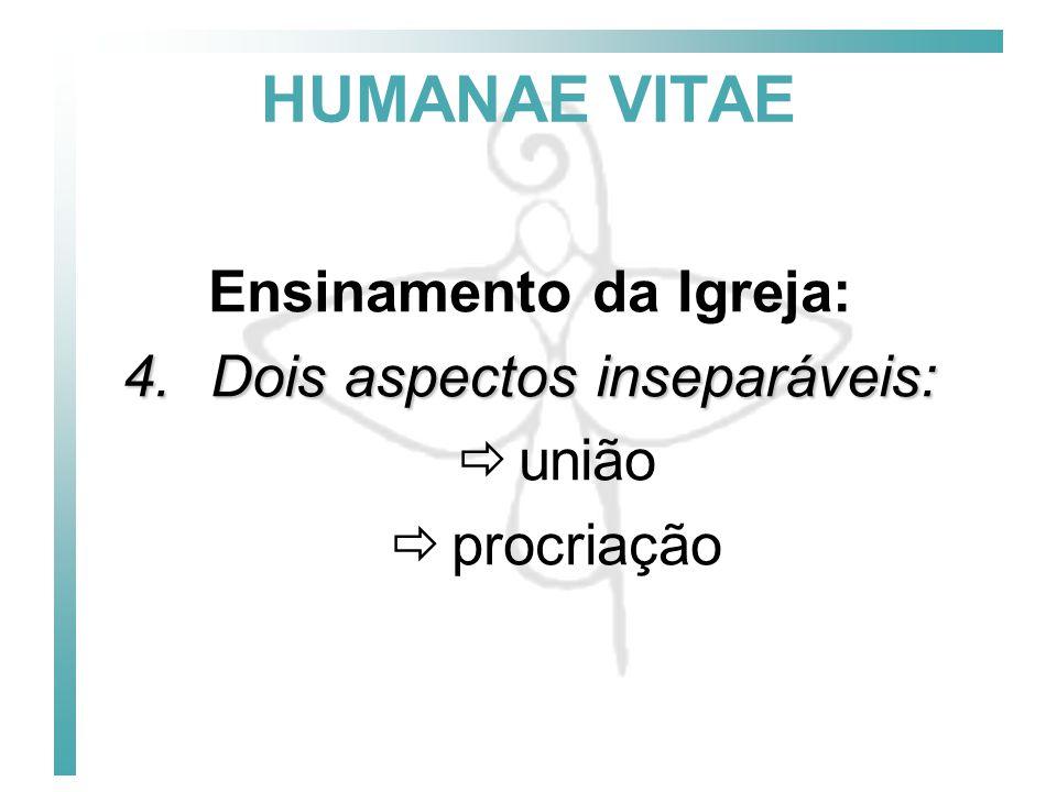 HUMANAE VITAE Ensinamento da Igreja: 5.Vias ilícitas para a regulação dos nascimentos (nº 14, pg.