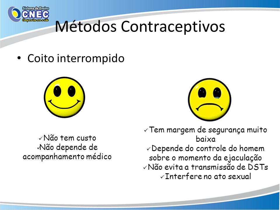 Métodos Contraceptivos • Coito interrompido  Não tem custo  Não depende de acompanhamento médico  Tem margem de segurança muito baixa  Depende do controle do homem sobre o momento da ejaculação  Não evita a transmissão de DSTs  Interfere no ato sexual