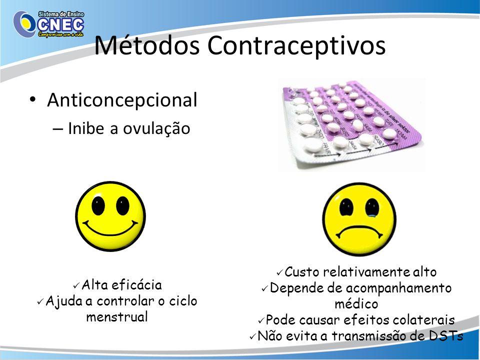 Métodos Contraceptivos • Anticoncepcional – Inibe a ovulação  Alta eficácia  Ajuda a controlar o ciclo menstrual  Custo relativamente alto  Depende de acompanhamento médico  Pode causar efeitos colaterais  Não evita a transmissão de DSTs