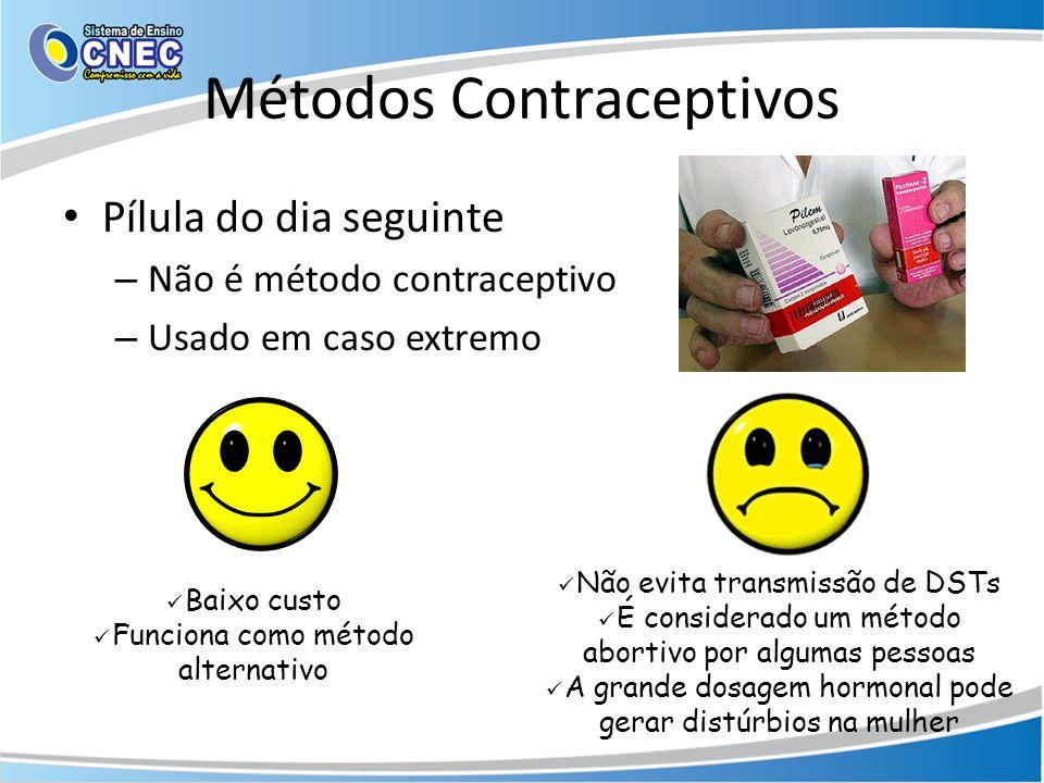 Métodos Contraceptivos • Pílula do dia seguinte – Não é método contraceptivo – Usado em caso extremo  Baixo custo  Funciona como método alternativo  Não evita transmissão de DSTs  É considerado um método abortivo por algumas pessoas  A grande dosagem hormonal pode gerar distúrbios na mulher