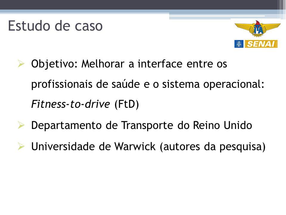 Estudo de caso  Objetivo: Melhorar a interface entre os profissionais de saúde e o sistema operacional: Fitness-to-drive (FtD)  Departamento de Transporte do Reino Unido  Universidade de Warwick (autores da pesquisa)
