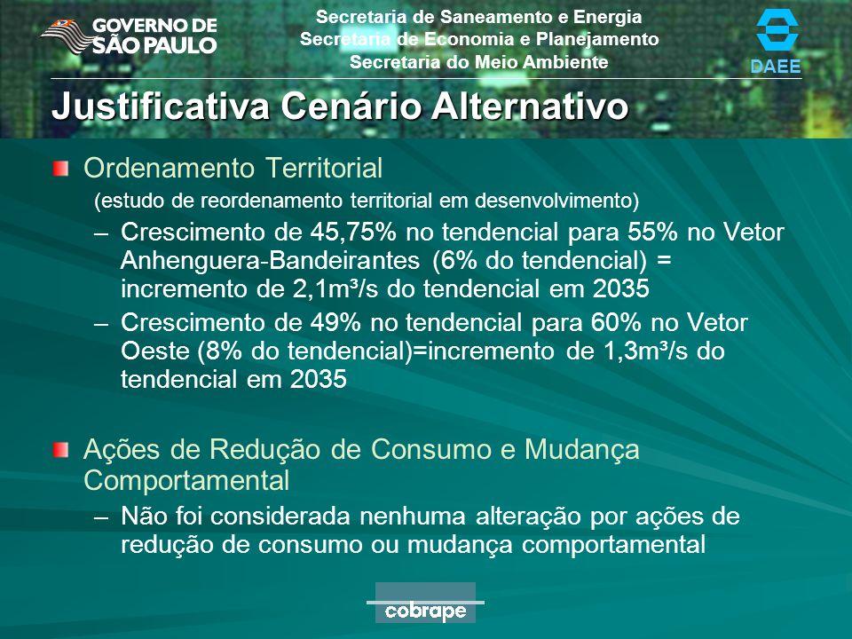 DAEE Secretaria de Saneamento e Energia Secretaria de Economia e Planejamento Secretaria do Meio Ambiente Justificativa Cenário Alternativo IPD 22% IP