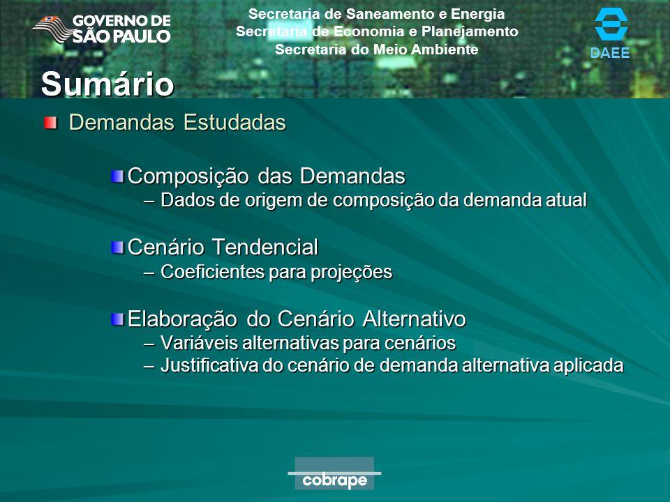DAEE Secretaria de Saneamento e Energia Secretaria de Economia e Planejamento Secretaria do Meio Ambiente Justificativa Cenário Alternativo Redução do IPD Índice Infra-Estrutural de Perdas Reais da M= 9,2 Fonte: Plano de Ações Para Reduções de Perdas, UN-Metropolitana, SABESP