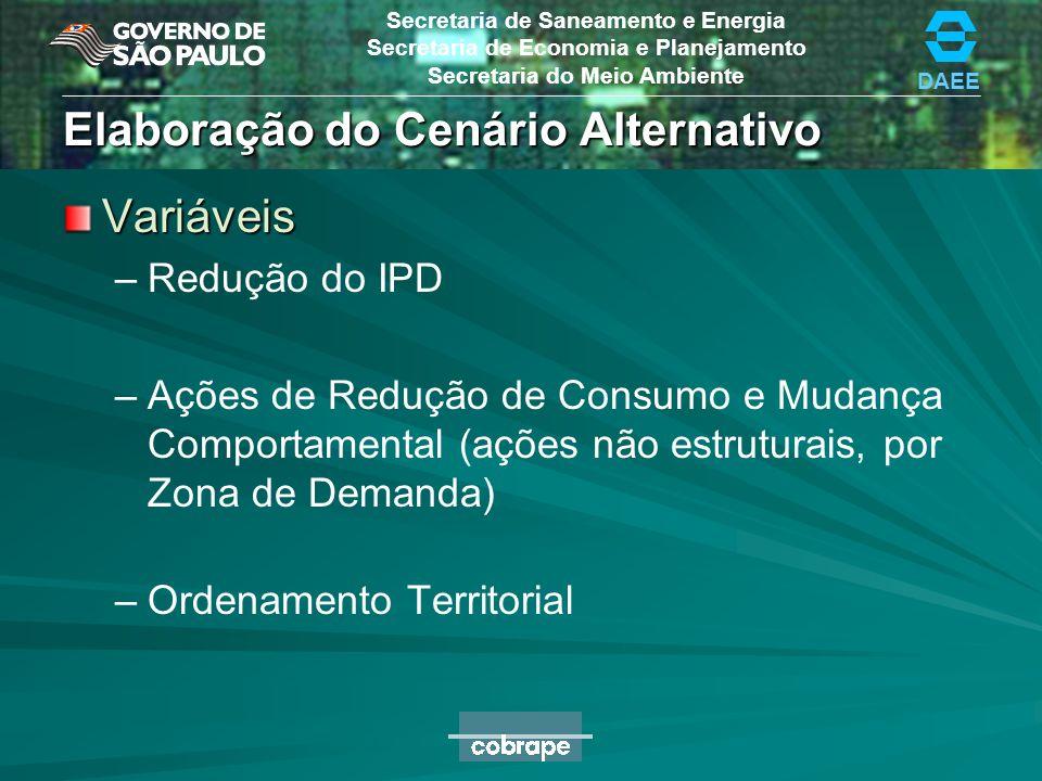 DAEE Secretaria de Saneamento e Energia Secretaria de Economia e Planejamento Secretaria do Meio Ambiente Cenário Tendencial Total Geral Macrometrópol