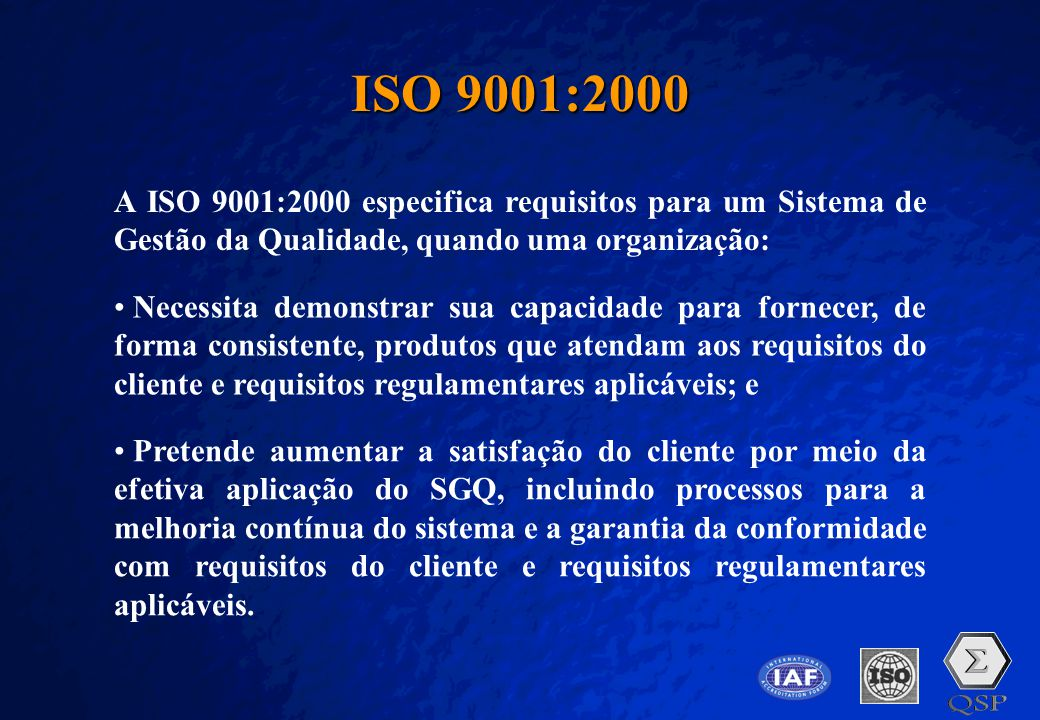 A Free sample background from www.pptbackgrounds.fsnet.co.uk Slide 11 ISO 9001:2000 A ISO 9001:2000 especifica requisitos para um Sistema de Gestão da
