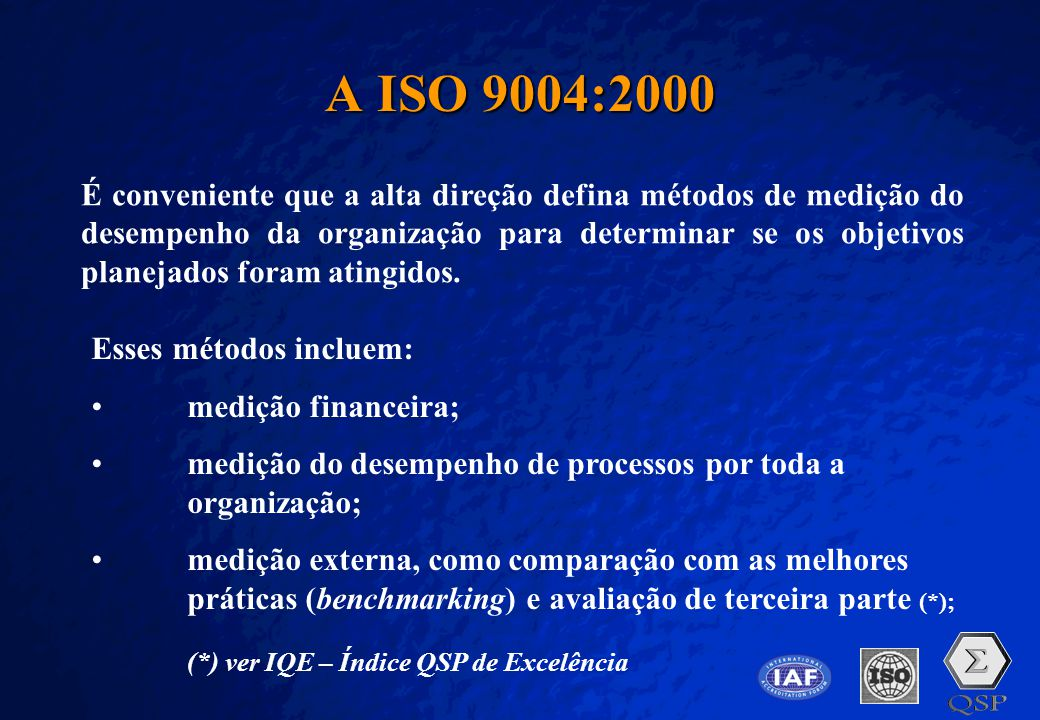 A Free sample background from www.pptbackgrounds.fsnet.co.uk Slide 27 A ISO 9004:2000 É conveniente que a alta direção defina métodos de medição do de