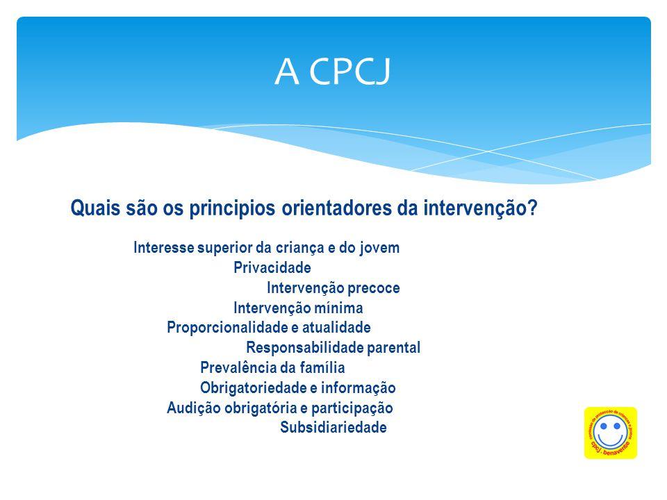 Quais são os principios orientadores da intervenção? Interesse superior da criança e do jovem Privacidade Intervenção precoce Intervenção mínima Propo