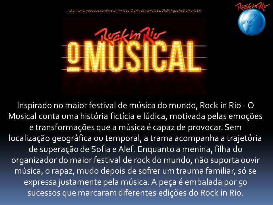 Inspirado no maior festival de música do mundo, Rock in Rio - O Musical conta uma história fictícia e lúdica, motivada pelas emoções e transformações