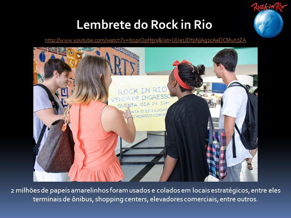 Lembrete do Rock in Rio 2 milhões de papeis amarelinhos foram usados e colados em locais estratégicos, entre eles terminais de ônibus, shopping centers, elevadores comerciais, entre outros.