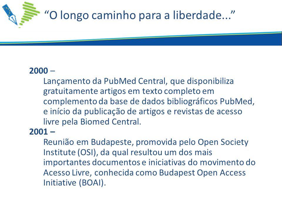 O longo caminho para a liberdade... 2000 – Lançamento da PubMed Central, que disponibiliza gratuitamente artigos em texto completo em complemento da base de dados bibliográficos PubMed, e início da publicação de artigos e revistas de acesso livre pela Biomed Central.