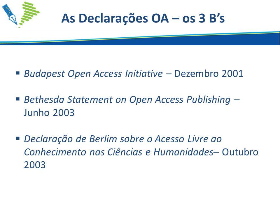  Budapest Open Access Initiative – Dezembro 2001  Bethesda Statement on Open Access Publishing – Junho 2003  Declaração de Berlim sobre o Acesso Livre ao Conhecimento nas Ciências e Humanidades– Outubro 2003 As Declarações OA – os 3 B's