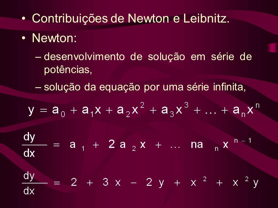 •Contribuições de Newton e Leibnitz. •Newton: –desenvolvimento de solução em série de potências, –solução da equação por uma série infinita,
