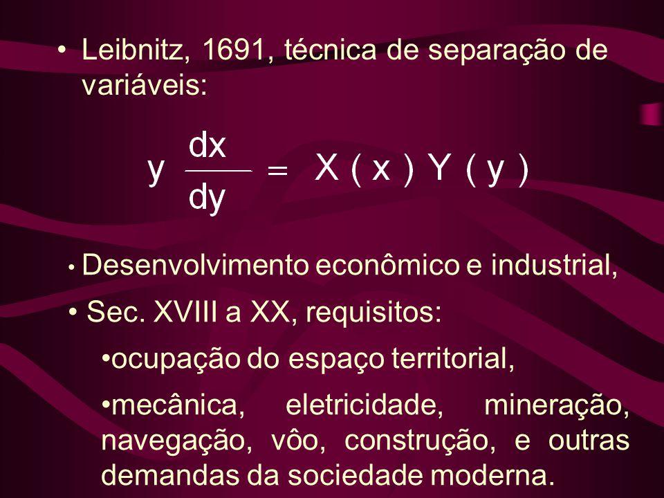 •Leibnitz, 1691, técnica de separação de variáveis: • Desenvolvimento econômico e industrial, • Sec. XVIII a XX, requisitos: •ocupação do espaço terri