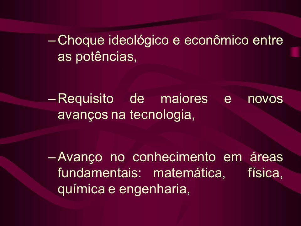 –Choque ideológico e econômico entre as potências, –Requisito de maiores e novos avanços na tecnologia, –Avanço no conhecimento em áreas fundamentais:
