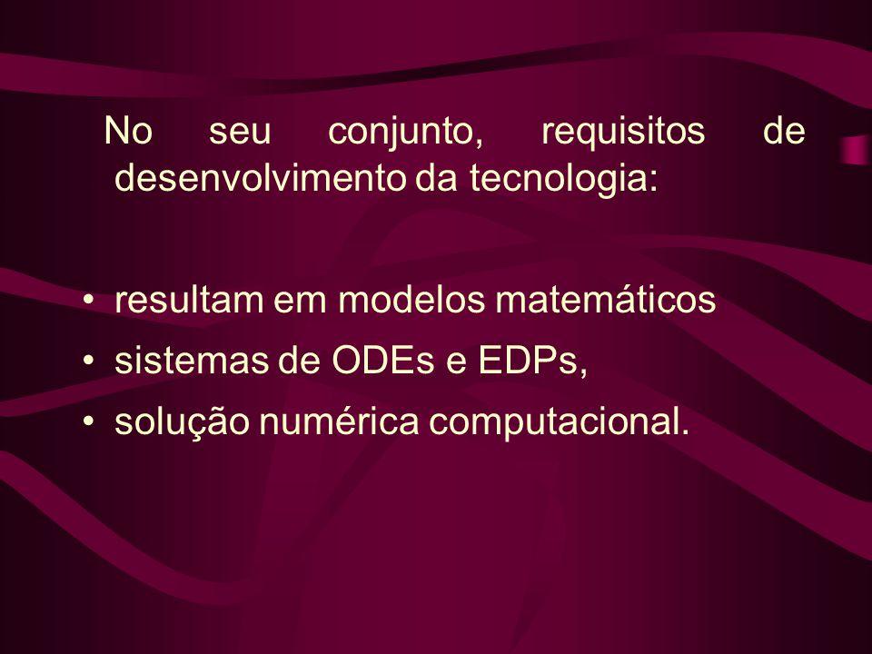 No seu conjunto, requisitos de desenvolvimento da tecnologia: •resultam em modelos matemáticos •sistemas de ODEs e EDPs, •solução numérica computacion