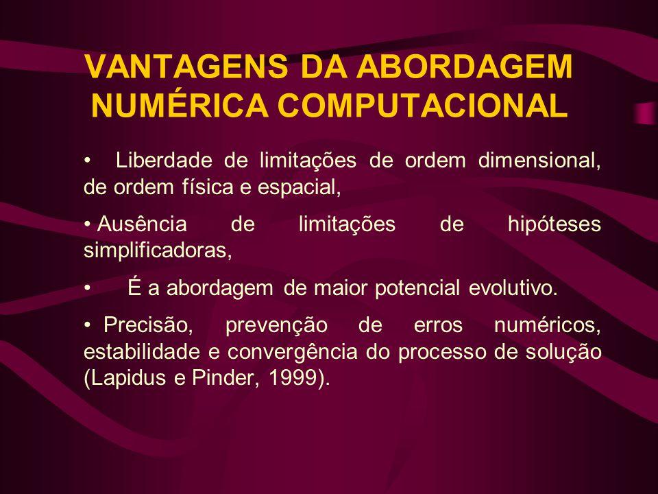 VANTAGENS DA ABORDAGEM NUMÉRICA COMPUTACIONAL • Liberdade de limitações de ordem dimensional, de ordem física e espacial, • Ausência de limitações de