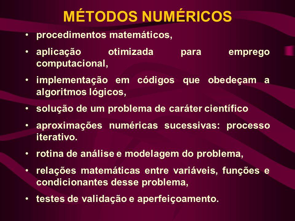 MÉTODOS NUMÉRICOS •procedimentos matemáticos, •aplicação otimizada para emprego computacional, •implementação em códigos que obedeçam a algoritmos lóg