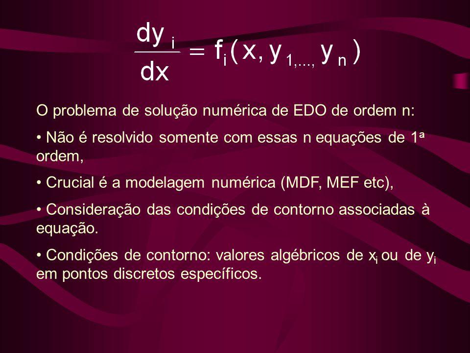 O problema de solução numérica de EDO de ordem n: • Não é resolvido somente com essas n equações de 1 a ordem, • Crucial é a modelagem numérica (MDF,
