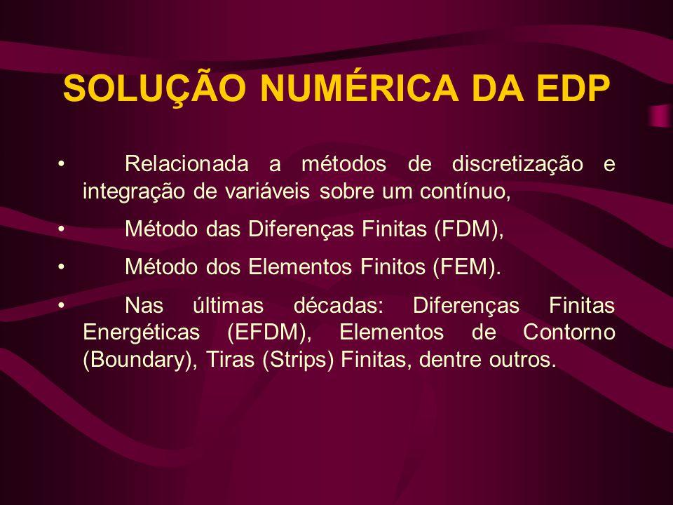SOLUÇÃO NUMÉRICA DA EDP •Relacionada a métodos de discretização e integração de variáveis sobre um contínuo, •Método das Diferenças Finitas (FDM), •Mé