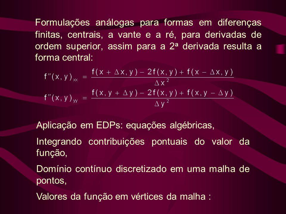 Formulações análogas para formas em diferenças finitas, centrais, a vante e a ré, para derivadas de ordem superior, assim para a 2 a derivada resulta