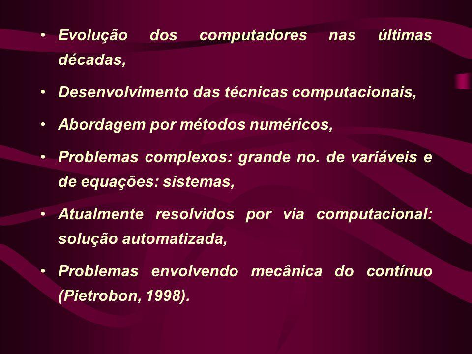 •Evolução dos computadores nas últimas décadas, •Desenvolvimento das técnicas computacionais, •Abordagem por métodos numéricos, •Problemas complexos: