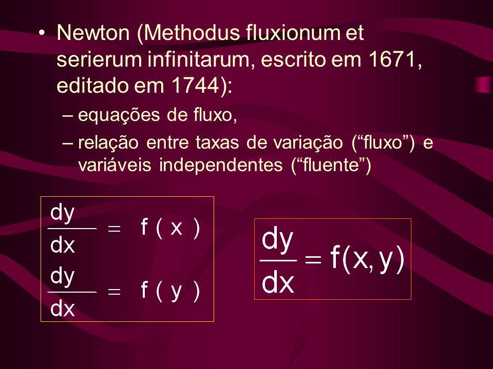 """•Newton (Methodus fluxionum et serierum infinitarum, escrito em 1671, editado em 1744): –equações de fluxo, –relação entre taxas de variação (""""fluxo"""")"""