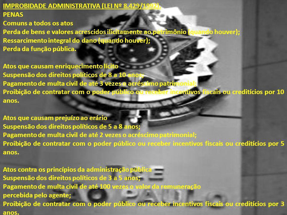 IMPROBIDADE ADMINISTRATIVA (LEI Nº 8.429/1992). PENAS Comuns a todos os atos Perda de bens e valores acrescidos ilicitamente ao patrimônio (quando hou