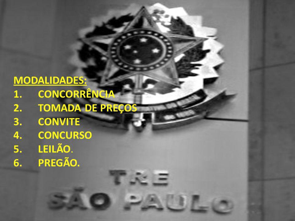 MODALIDADES: 1. CONCORRÊNCIA 2. TOMADA DE PREÇOS 3. CONVITE 4. CONCURSO 5. LEILÃO. 6. PREGÃO.