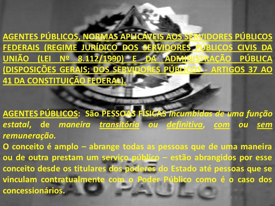 AGENTES PÚBLICOS, NORMAS APLICÁVEIS AOS SERVIDORES PÚBLICOS FEDERAIS (REGIME JURÍDICO DOS SERVIDORES PÚBLICOS CIVIS DA UNIÃO (LEI Nº 8.112/1990) E DA