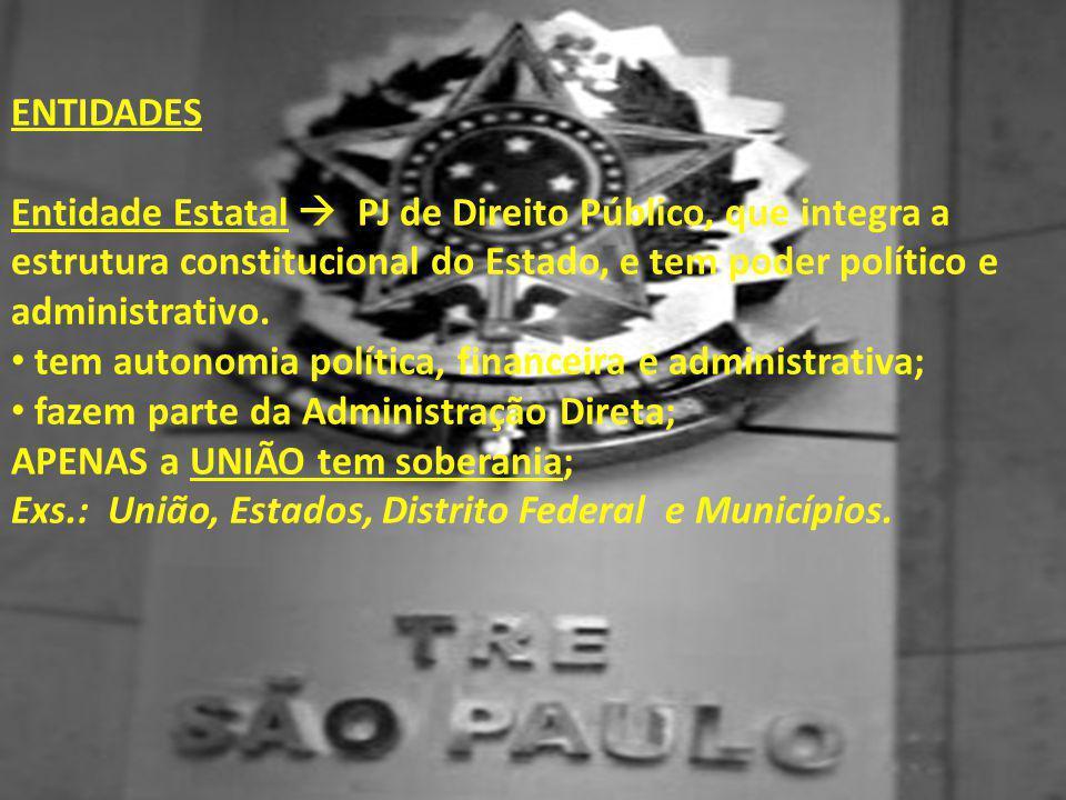 ENTIDADES Entidade Estatal  PJ de Direito Público, que integra a estrutura constitucional do Estado, e tem poder político e administrativo. • tem aut