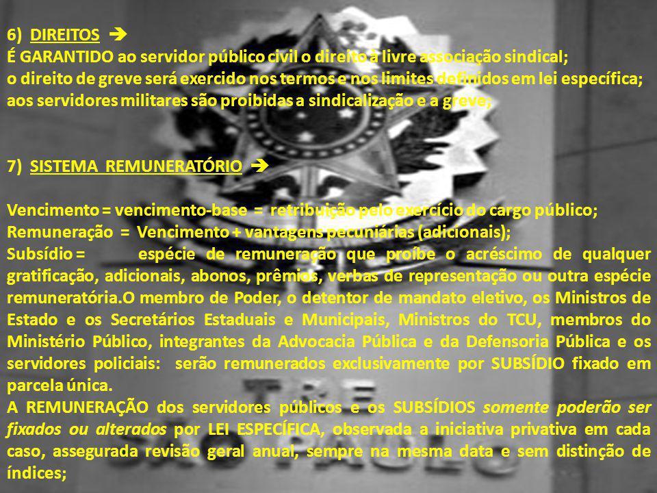 6) DIREITOS  É GARANTIDO ao servidor público civil o direito à livre associação sindical; o direito de greve será exercido nos termos e nos limites d
