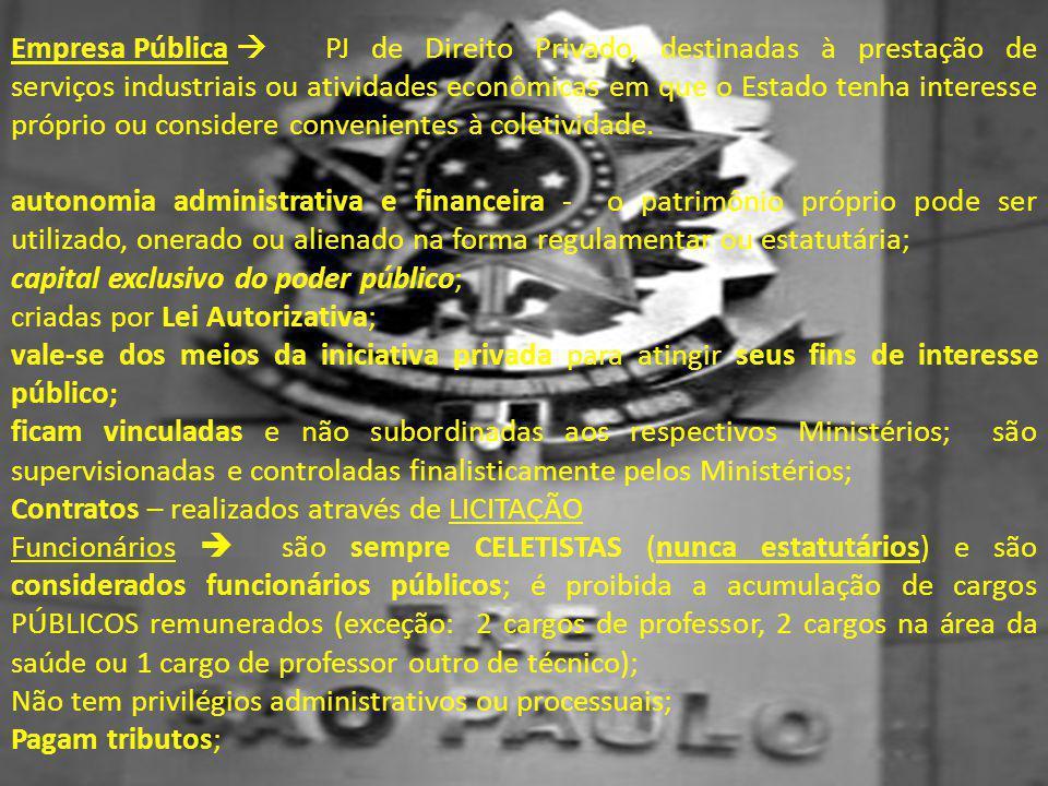 Empresa Pública  PJ de Direito Privado, destinadas à prestação de serviços industriais ou atividades econômicas em que o Estado tenha interesse própr