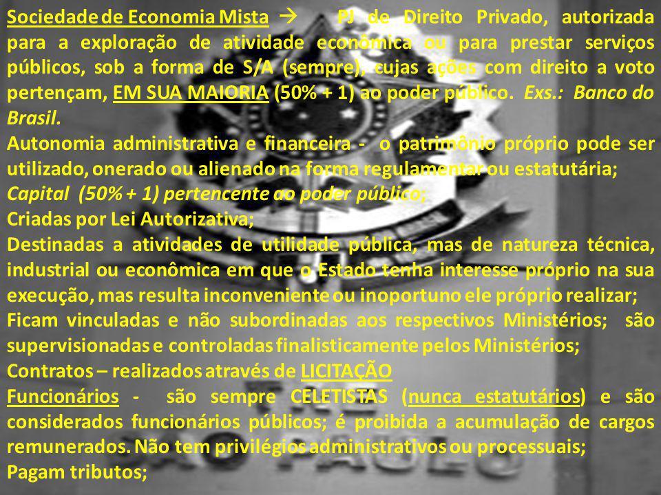 Sociedade de Economia Mista  PJ de Direito Privado, autorizada para a exploração de atividade econômica ou para prestar serviços públicos, sob a form