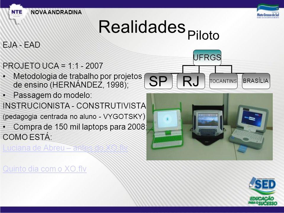 Realidades EJA - EAD PROJETO UCA = 1:1 - 2007 •Metodologia de trabalho por projetos de ensino (HERNÁNDEZ, 1998); •Passagem do modelo: INSTRUCIONISTA - CONSTRUTIVISTA (pedagogia centrada no aluno - VYGOTSKY ) •Compra de 150 mil laptops para 2008; COMO ESTÁ: Luciana de Abreu – antes do XO.flv Quinto dia com o XO.flv UFRGS SPRJ BRASÍLIA TOCANTINS Piloto NOVA ANDRADINA