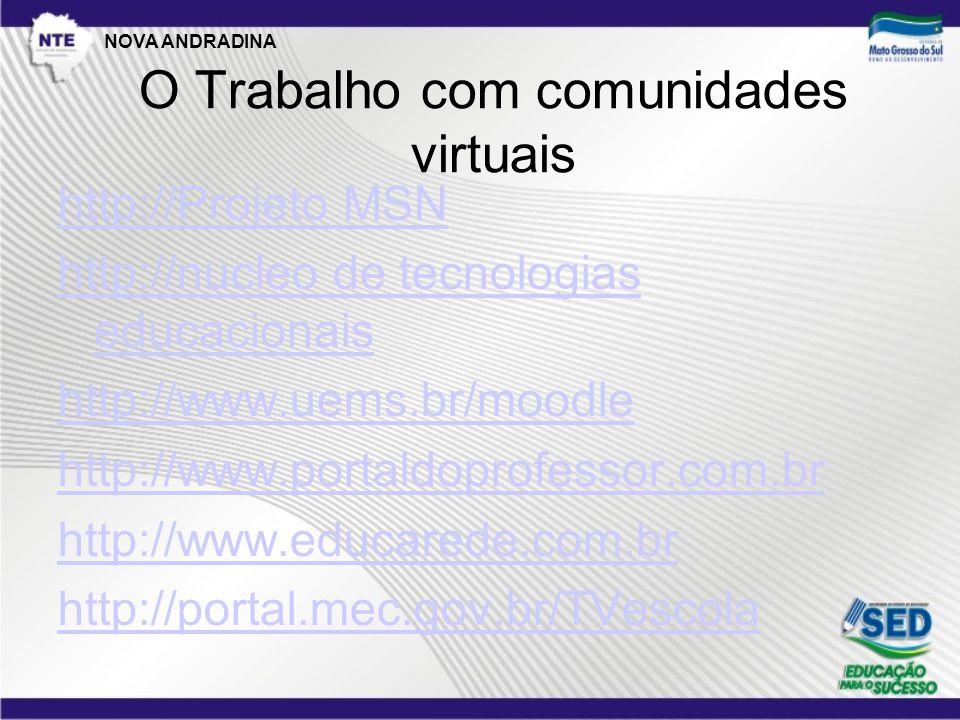 O Trabalho com comunidades virtuais http://Projeto MSN http://nucleo de tecnologias educacionais http://www.uems.br/moodle http://www.portaldoprofessor.com.br http://www.educarede.com.br http://portal.mec.gov.br/TVescola NOVA ANDRADINA