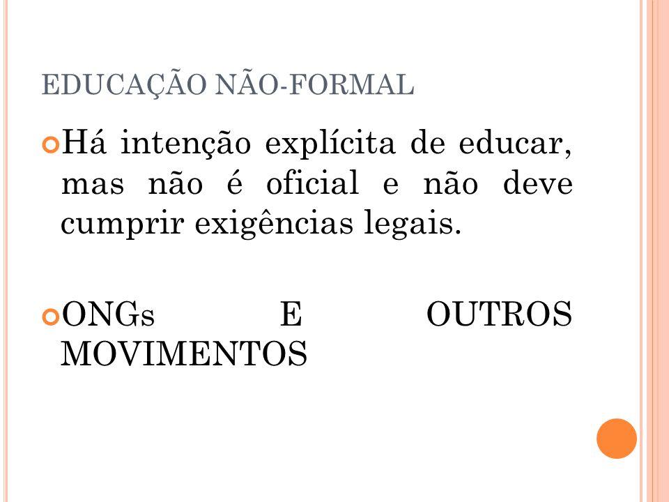 EDUCAÇÃO NÃO-FORMAL Há intenção explícita de educar, mas não é oficial e não deve cumprir exigências legais.