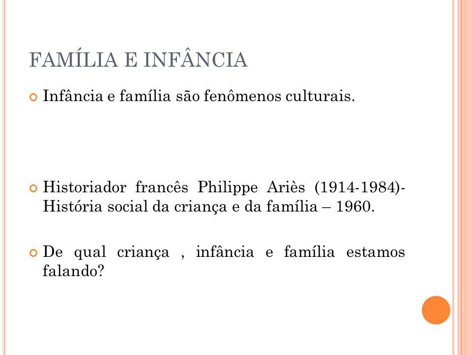 FAMÍLIA E INFÂNCIA Infância e família são fenômenos culturais.