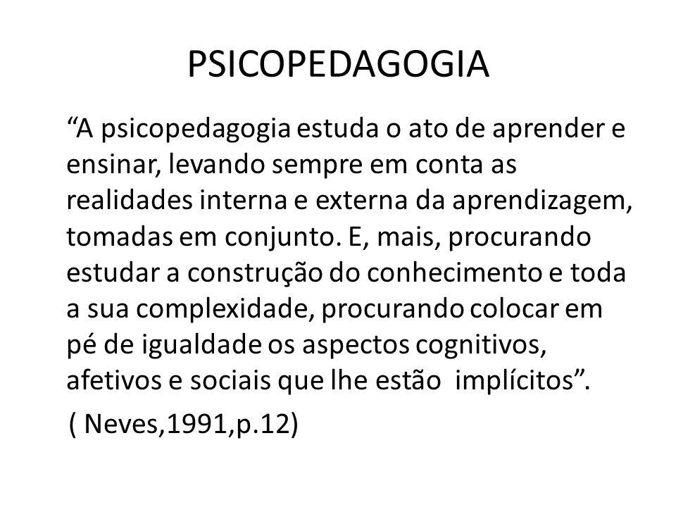 """PSICOPEDAGOGIA """"A psicopedagogia estuda o ato de aprender e ensinar, levando sempre em conta as realidades interna e externa da aprendizagem, tomadas"""