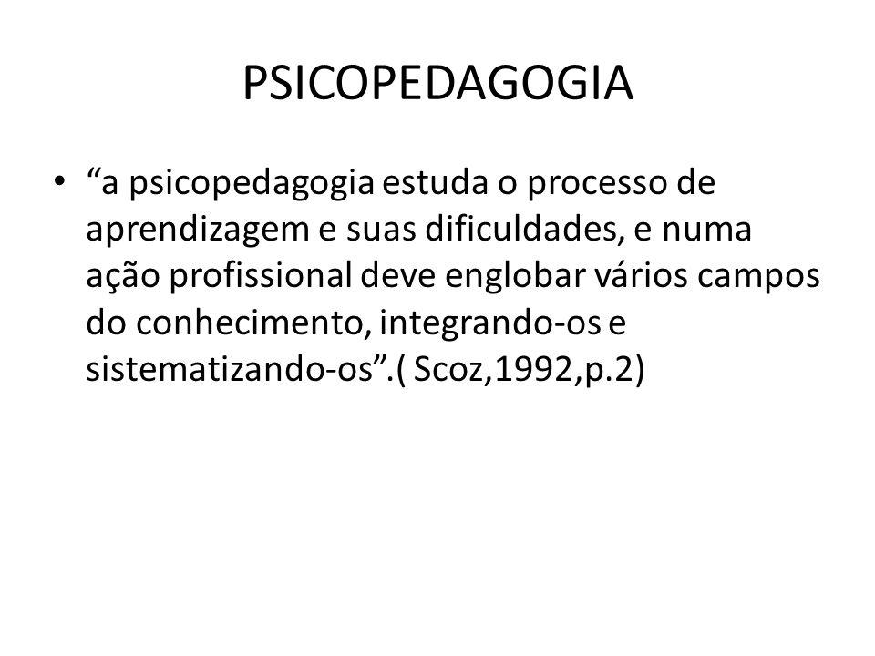 """PSICOPEDAGOGIA • """"a psicopedagogia estuda o processo de aprendizagem e suas dificuldades, e numa ação profissional deve englobar vários campos do conh"""