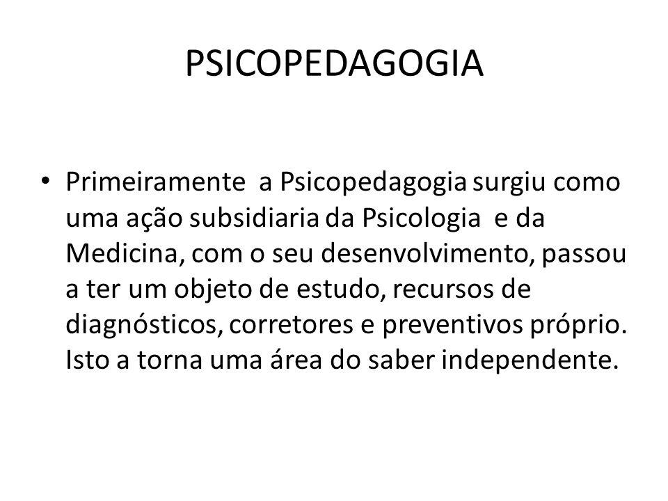 PSICOPEDAGOGIA • Primeiramente a Psicopedagogia surgiu como uma ação subsidiaria da Psicologia e da Medicina, com o seu desenvolvimento, passou a ter