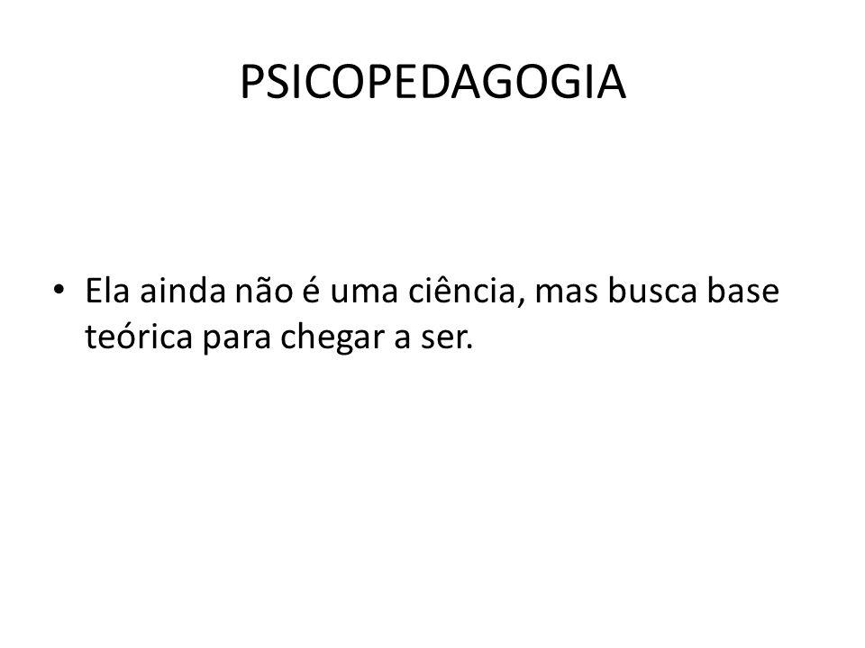 PSICOPEDAGOGIA • O termo Psicopedagogia distingue-se em três conotações: • a-Como uma prática; • b-Um campo de investigação do ato de aprender e; • c-como um saber científico • A psicopedagogia não é sinônimo de psicologia Escolar.