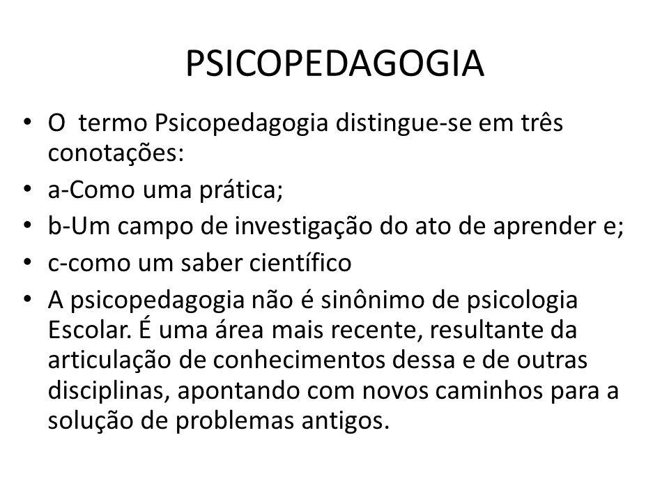 PSICOPEDAGOGIA • O termo Psicopedagogia distingue-se em três conotações: • a-Como uma prática; • b-Um campo de investigação do ato de aprender e; • c-